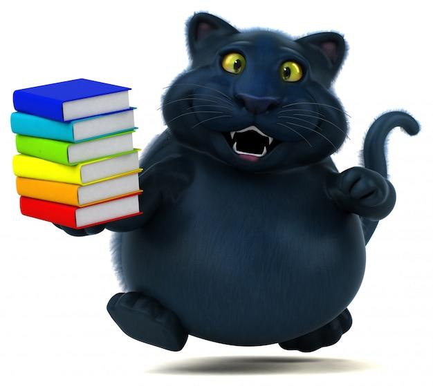 Fun cat with books