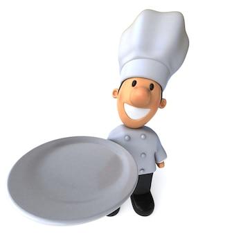 Весело повар 3d иллюстрация держит тарелку