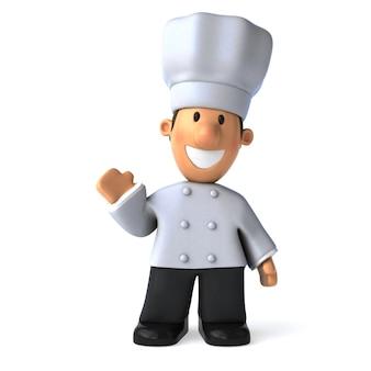 Весело повар машет 3d иллюстрации