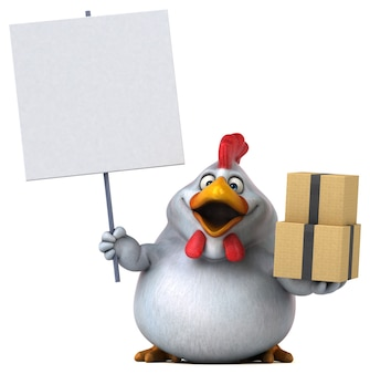 재미있는 치킨 - 3d 일러스트레이션