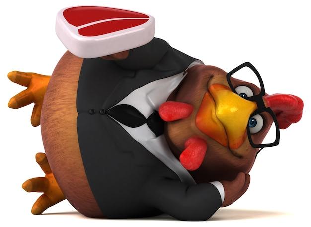 재미있는 치킨 3d 일러스트