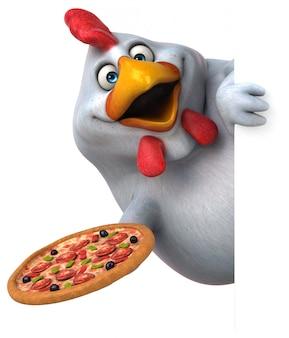 分離された楽しい鶏のキャラクター-3 dイラストレーション