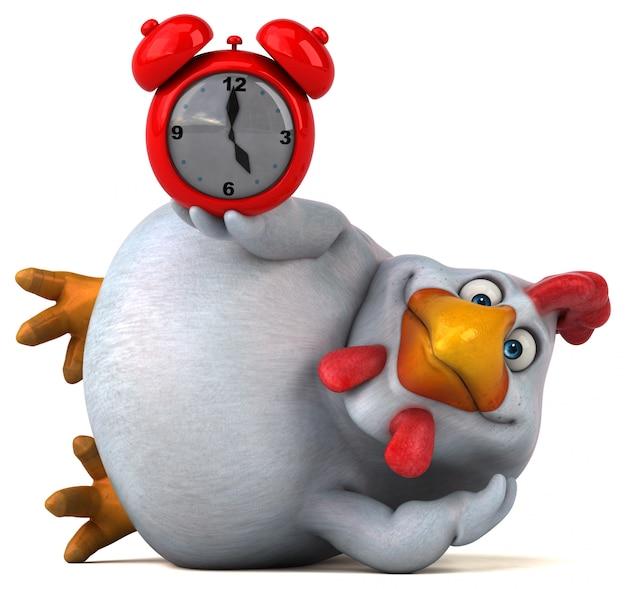 Забавный куриный персонаж - 3d иллюстрации