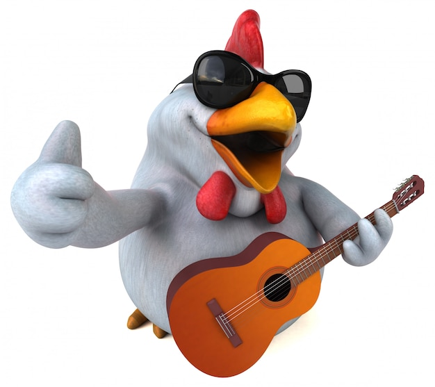 Fun chicken character isolated  - 3d illustration