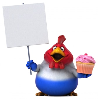 Fun chicken with cupcake and blank board