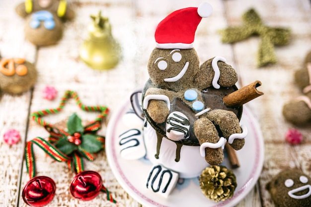 Fun christmas hot chocolate, holiday or merry christmas themed picture background