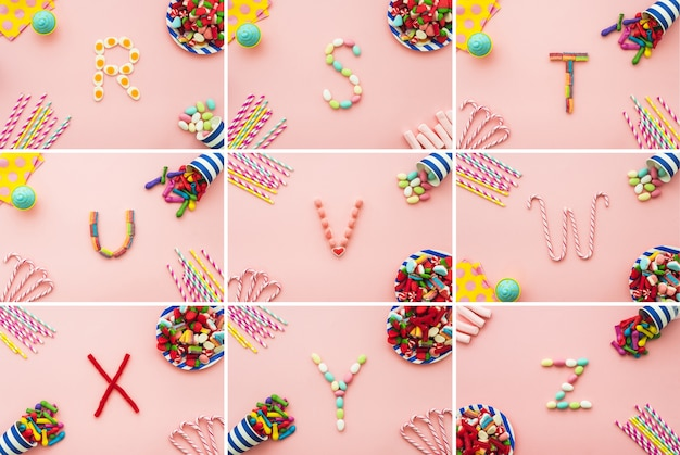 Fun composition with candy alphabet