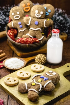 Fun cookie with frosting, wholemeal flour, brown sugar and poop milk, homemade holiday cookie