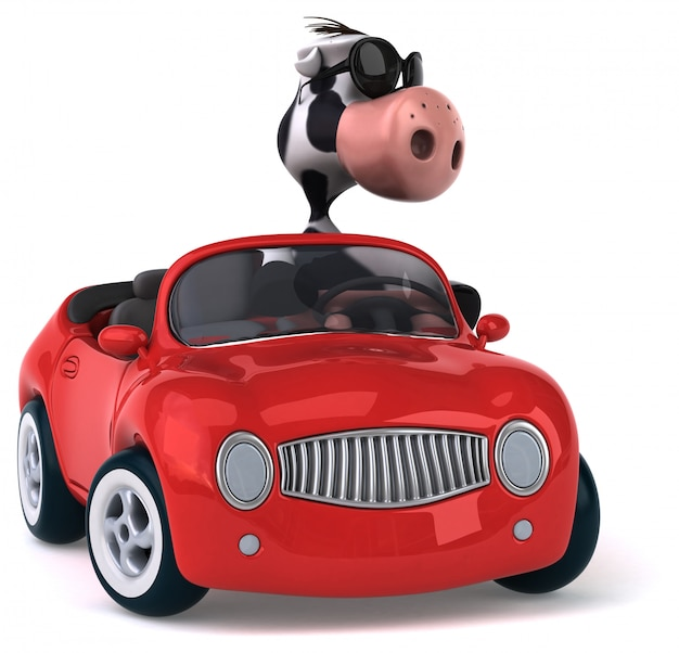 Fun cow driving. 3d character