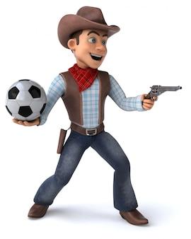 Fun cowboy с футбольным мячом