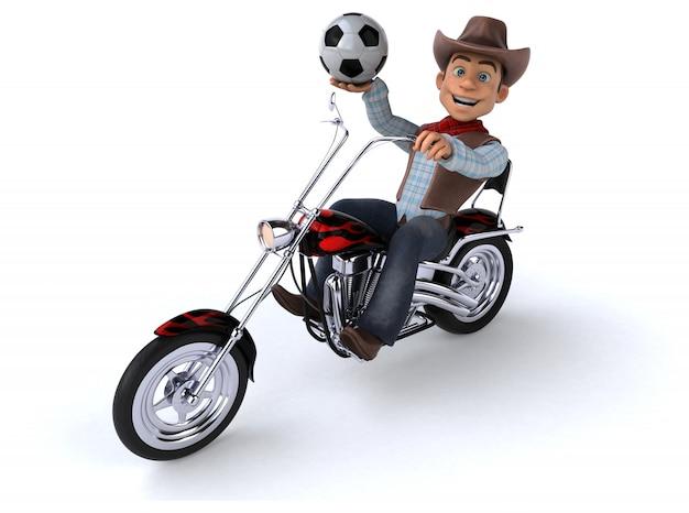 Fun cowboy на мотоцикле с футбольным мячом
