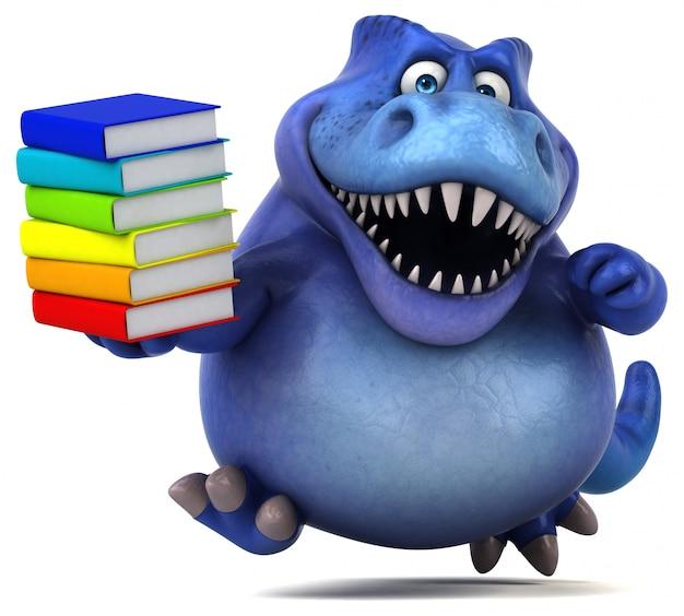 Забавный персонаж динозавра - 3d иллюстрации
