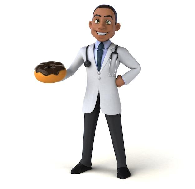 Весело доктор держит вкусный пончик