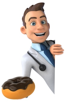 Весело доктор, держащий пончик