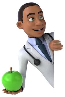 Весело доктор держит зеленое яблоко