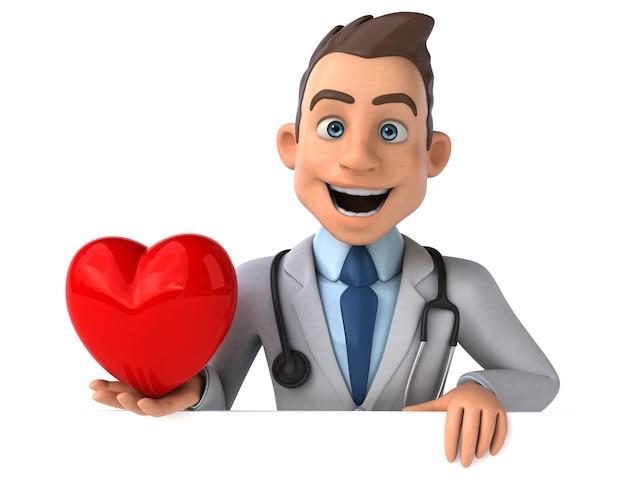 Весело доктор держит красное сердце