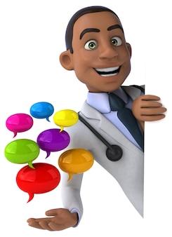 Весело доктор держит цветные пузыри речи