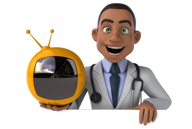 Весело доктор, держа в руке маленький телевизор