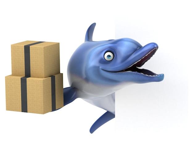 Забавный дельфин - 3d иллюстрации