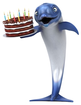 재미있는 돌고래 -3d 일러스트