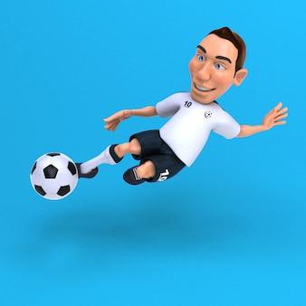 Забавный футболист - 3d иллюстрация