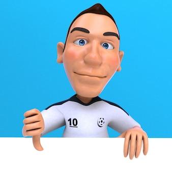 Забавный футболист 3d иллюстрация