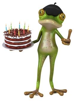 Забавная французская лягушка 3d иллюстрация