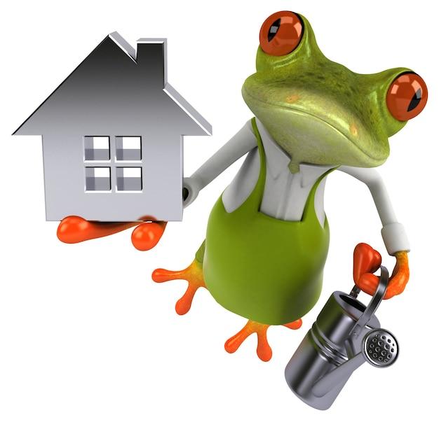 Веселая лягушка-садовник - 3d иллюстрации