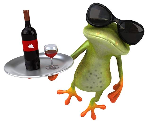 Забавная лягушка с бутылкой вина