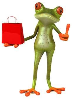 Веселая лягушка с сумкой для покупок