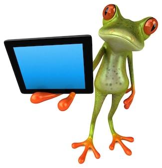 Забавная лягушка, держащая пустой экран планшета