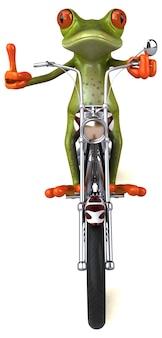 재미있는 개구리 오토바이 -3d 일러스트
