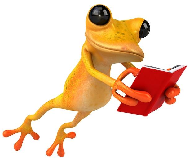 Забавная лягушка, читающая из красной книги