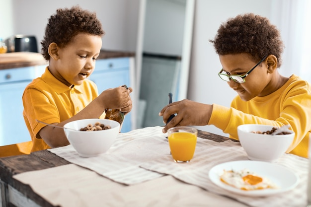 Fun games. pleasant little brothers sitting at the table, having breakfast and feeding their toy dinosaurs with cereals