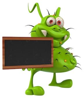 黒板を持っている楽しい細菌モンスター