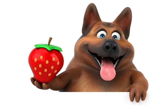 楽しいジャーマン・シェパード犬-3 dイラストレーション