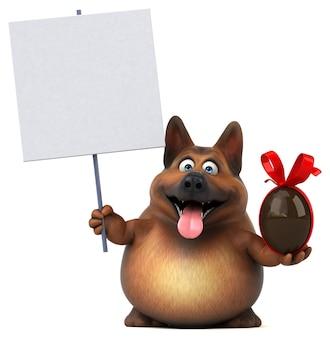 Fun german shepherd dog 3d illustration