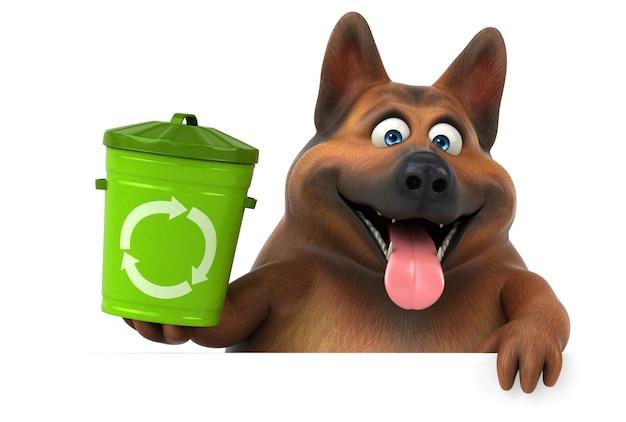 楽しいジャーマンシェパード犬-3dイラスト