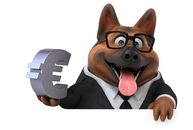 재미있는 독일 셰퍼드 개 - 3d 그림