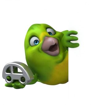 Веселая зеленая птица - 3d иллюстрации