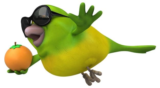 재미있는 녹색 새 -3d 일러스트