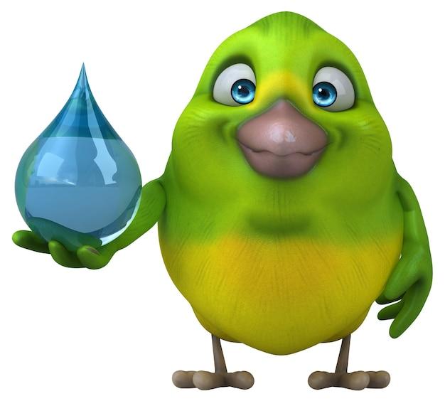 Забавная зеленая птица - 3d иллюстрации
