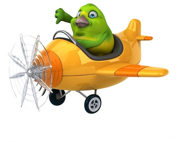 楽しい緑の鳥のアニメーション