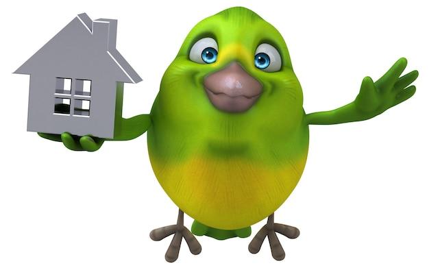 楽しい緑の鳥のイラスト