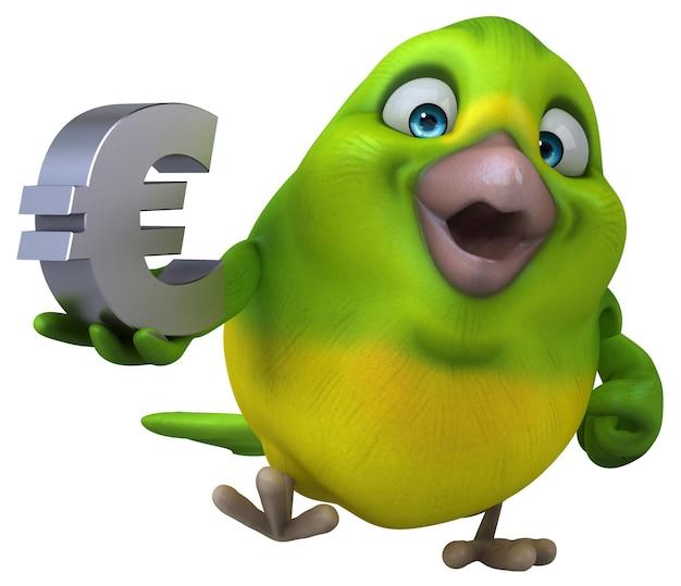 Забавная зеленая птица иллюстрация
