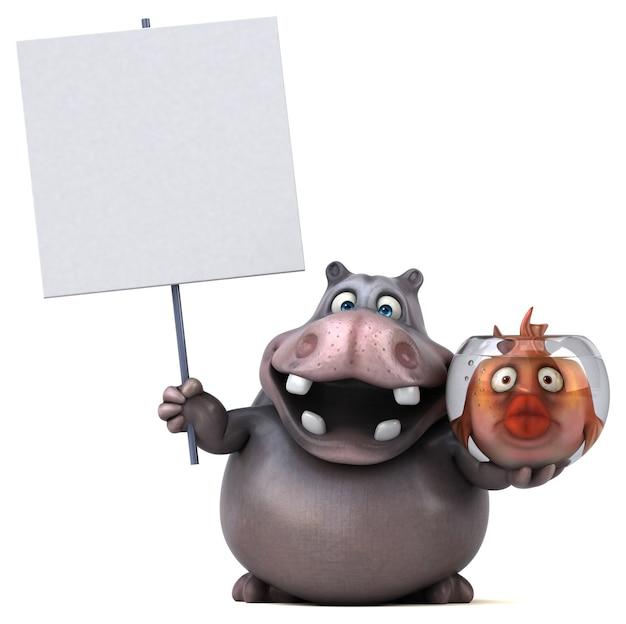 Забавный бегемот - 3d иллюстрации