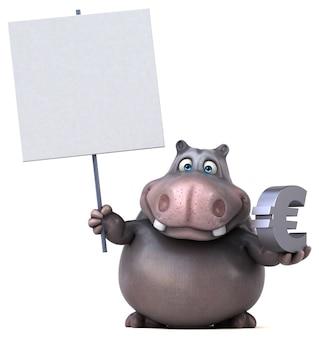 Забавная иллюстрация бегемота