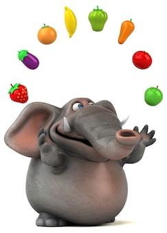 Fun illustrated 3d elephant juggling fruits