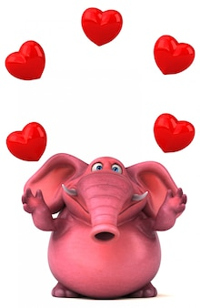 Fun illustrated 3d elephant juggling hearts