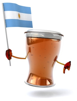 Fun illustrated beer character holding the flag of argentina